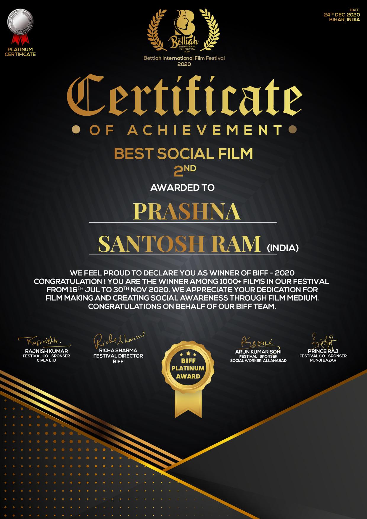 Prashna (QUESTION) Best Short Film