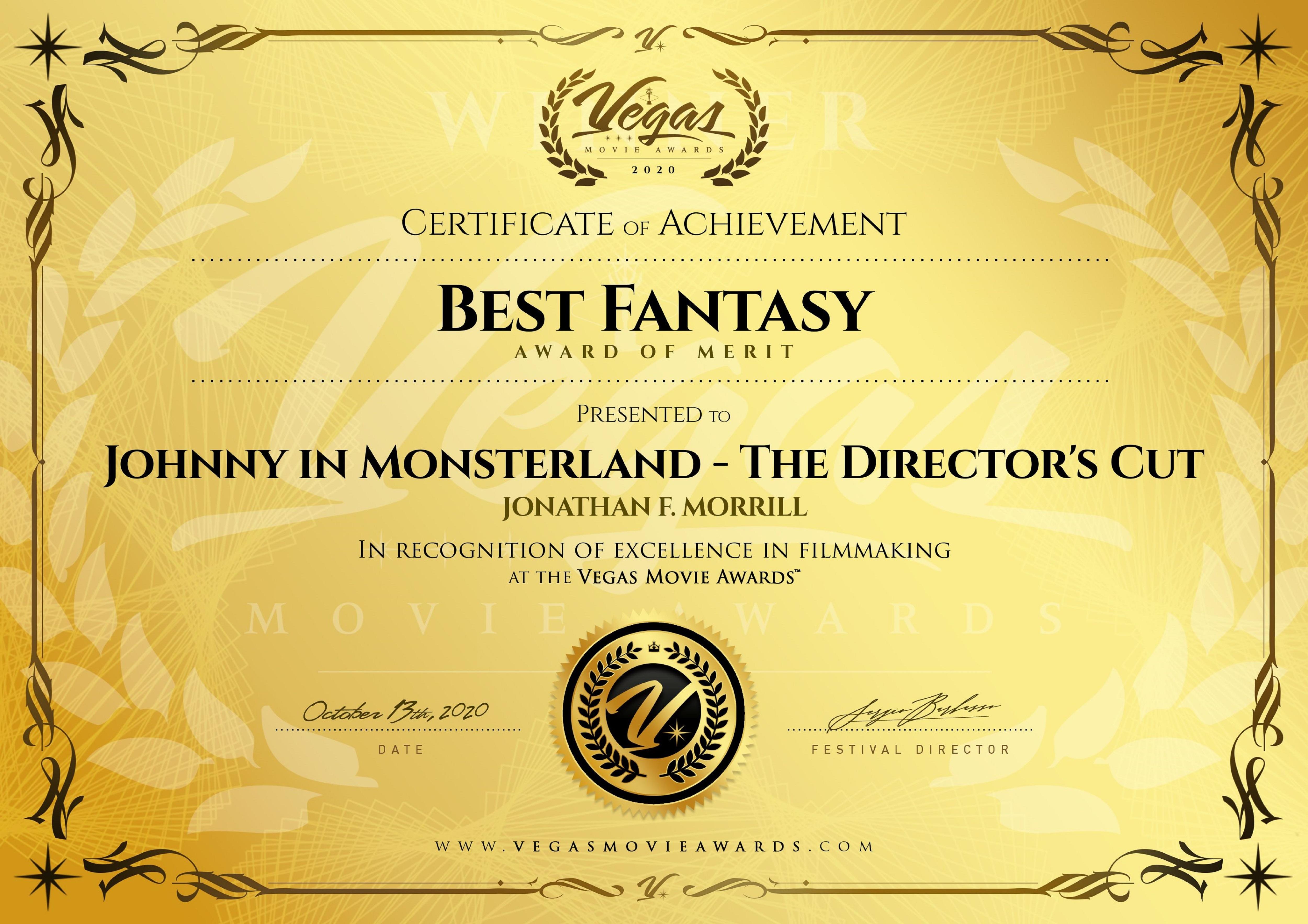 Best Fantasy Feature - Vegas Movie Awards - October 2020