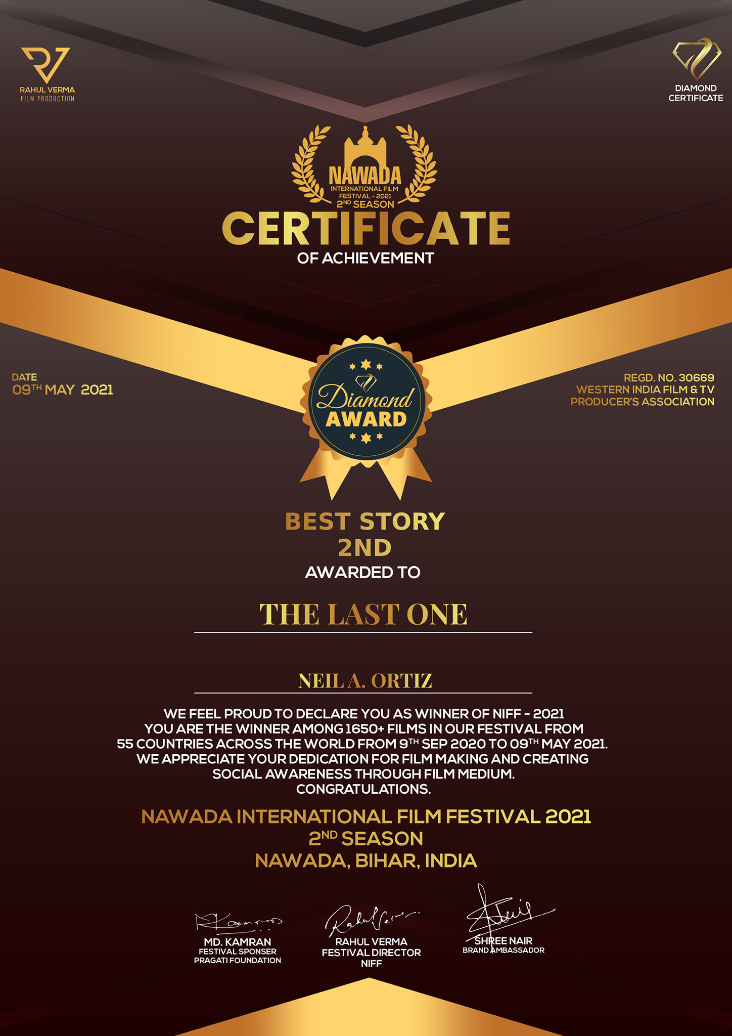 CERTIFICATE OF ACHIEVEMENT - BEST STORY 2ND PLACE