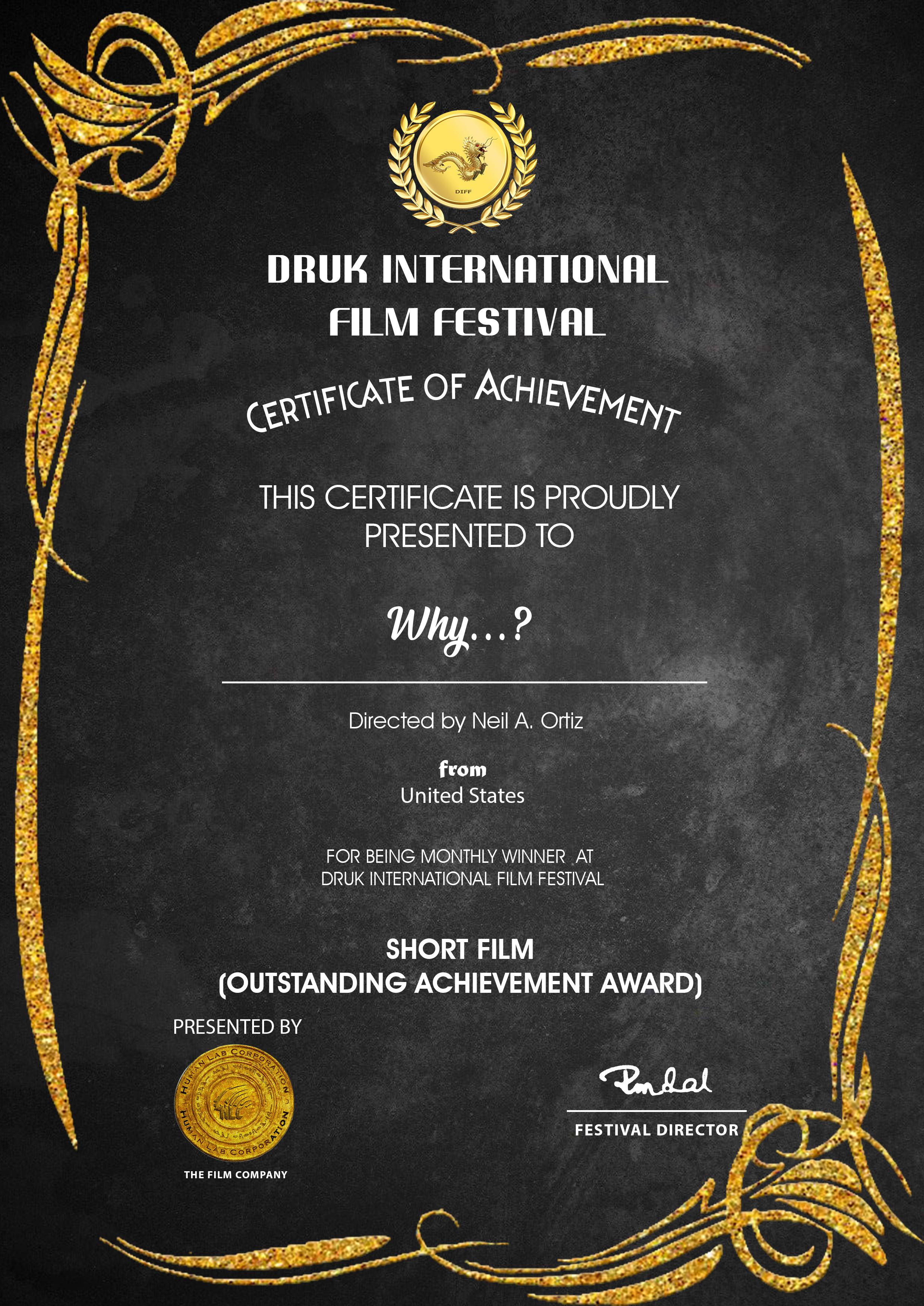 OUTSTANDING ACHIEVEMENT AWARD - SHORT FILM