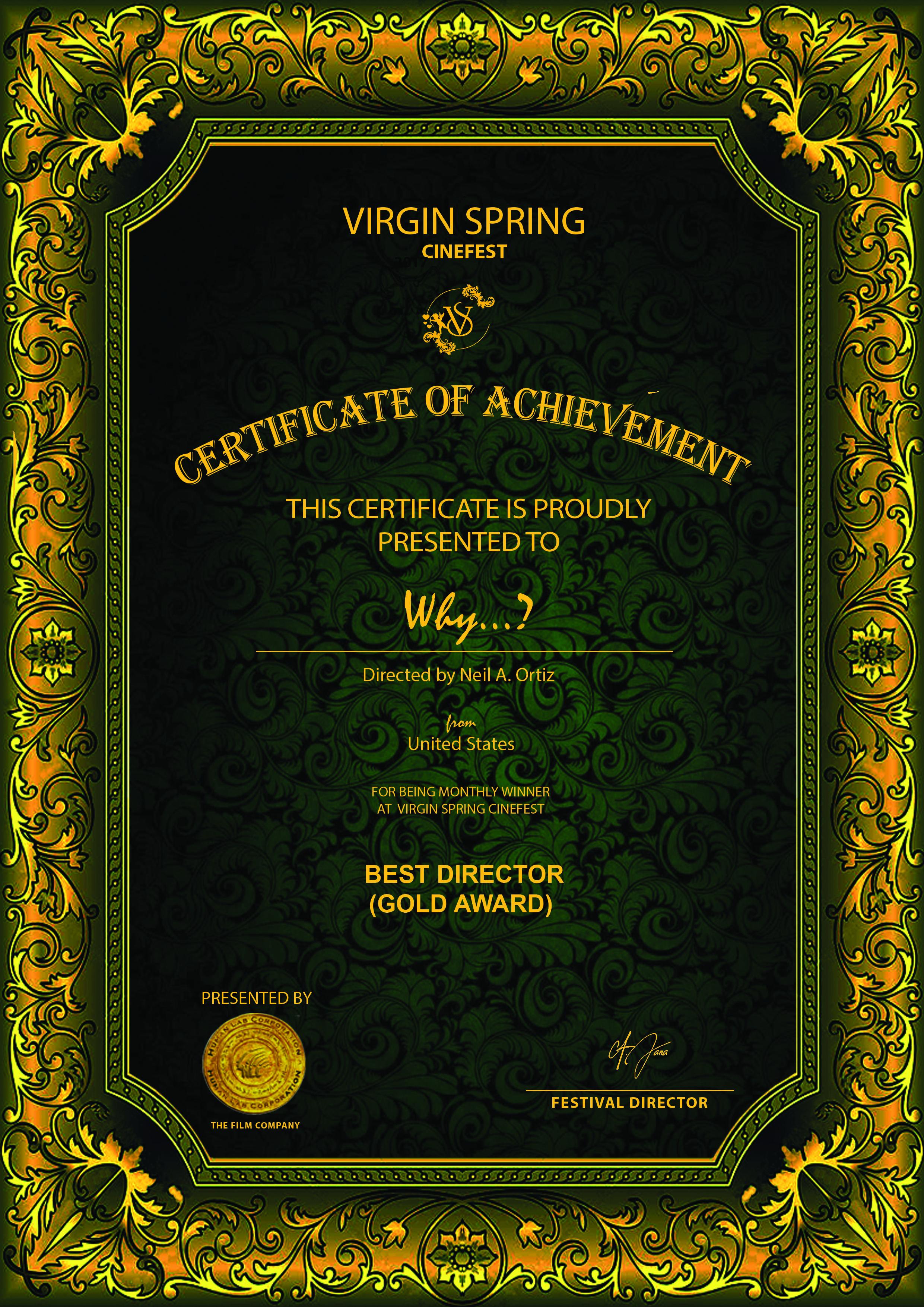 MONTHLY WINNER GOLD AWARD - BEST DIRECTOR