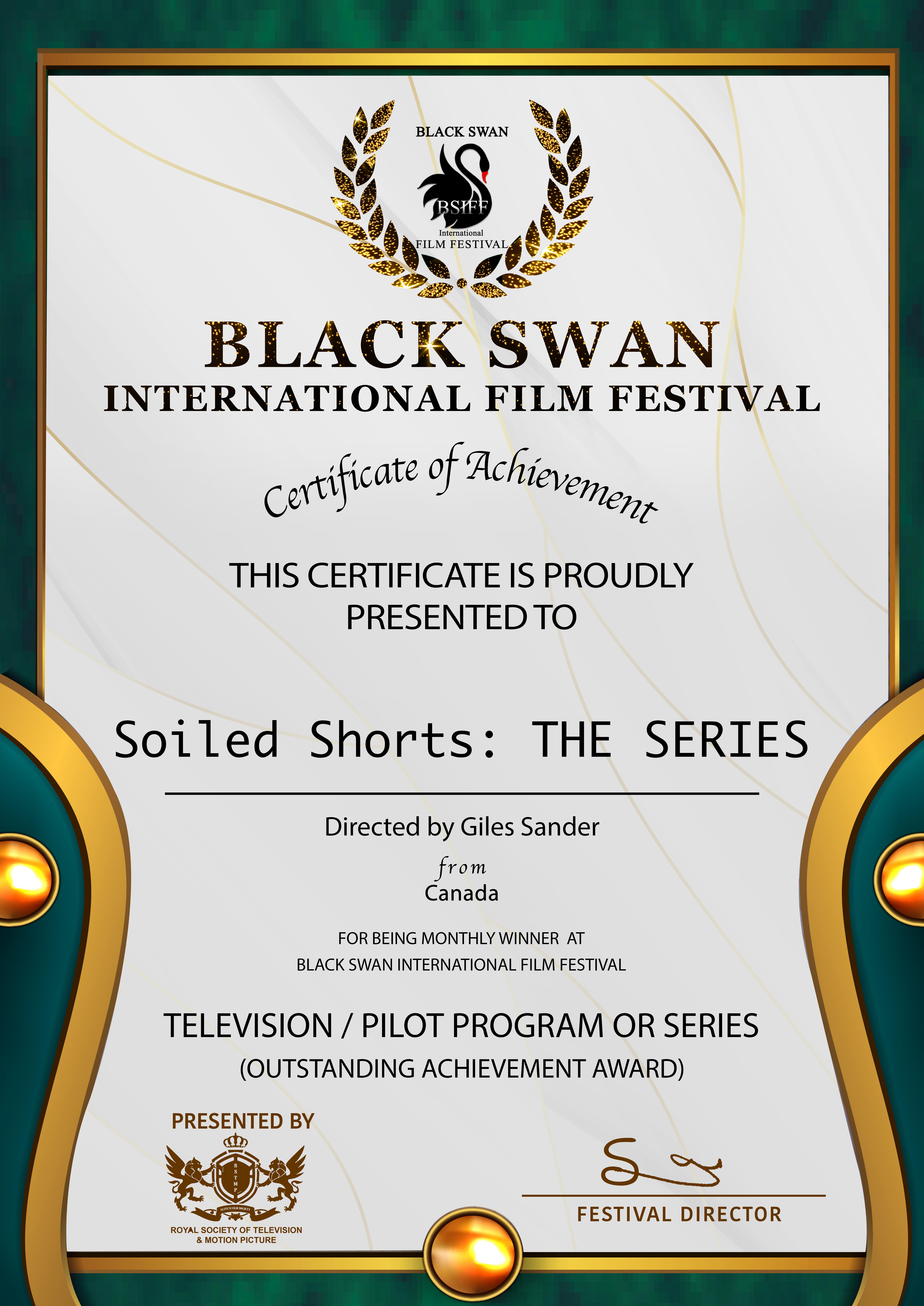 Winner - Black Swan International Film Festival