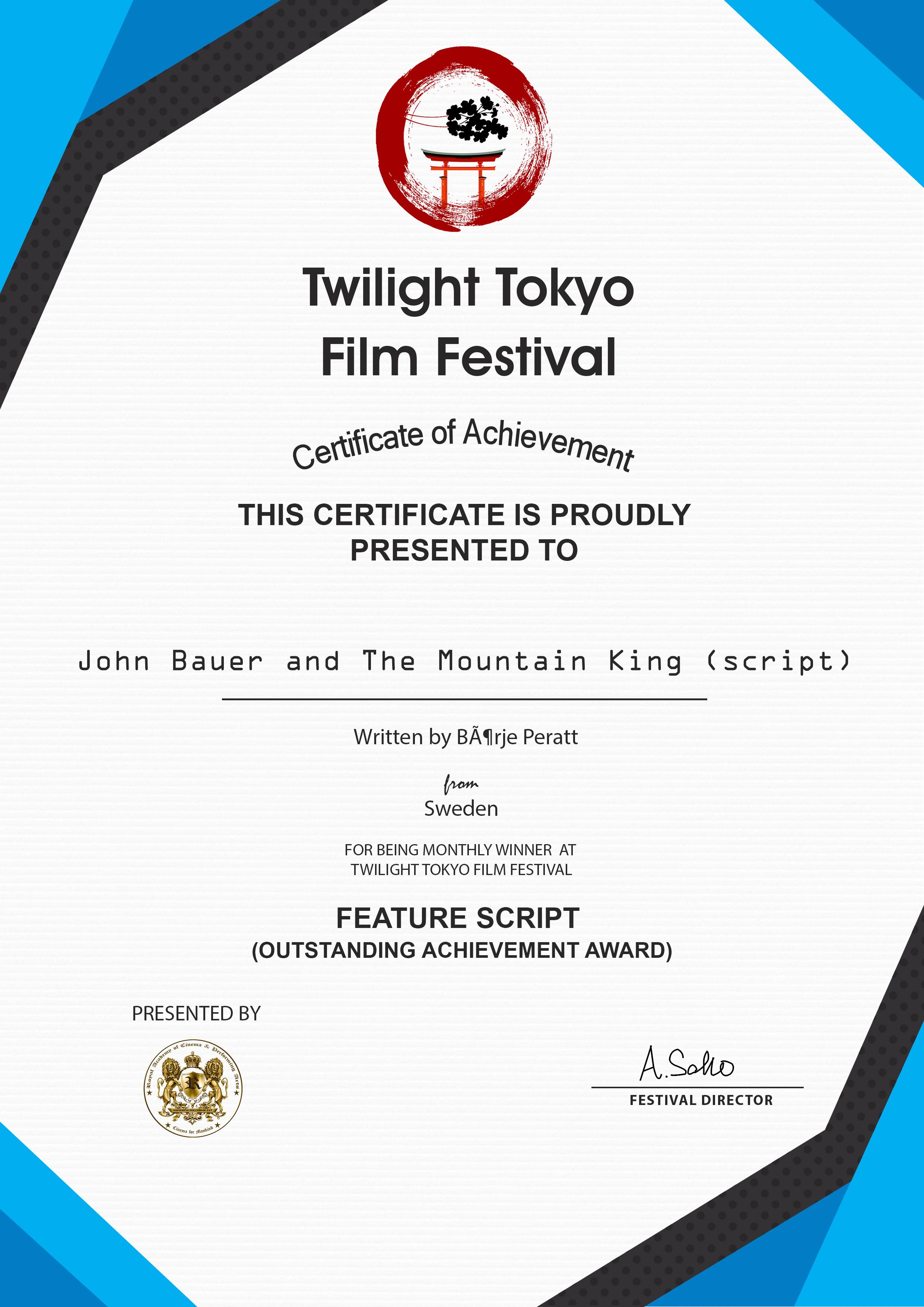 Winner Outstandig Achievement Award Twiligth Tokyo Film Festival