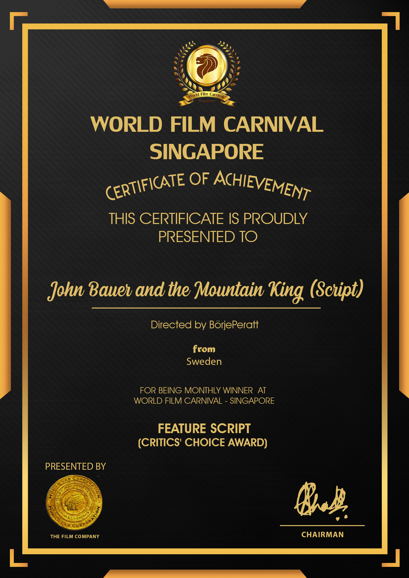 John Bauer and the Mountain King (Script)_WINNER Certificat of Achievement Börje Peratt