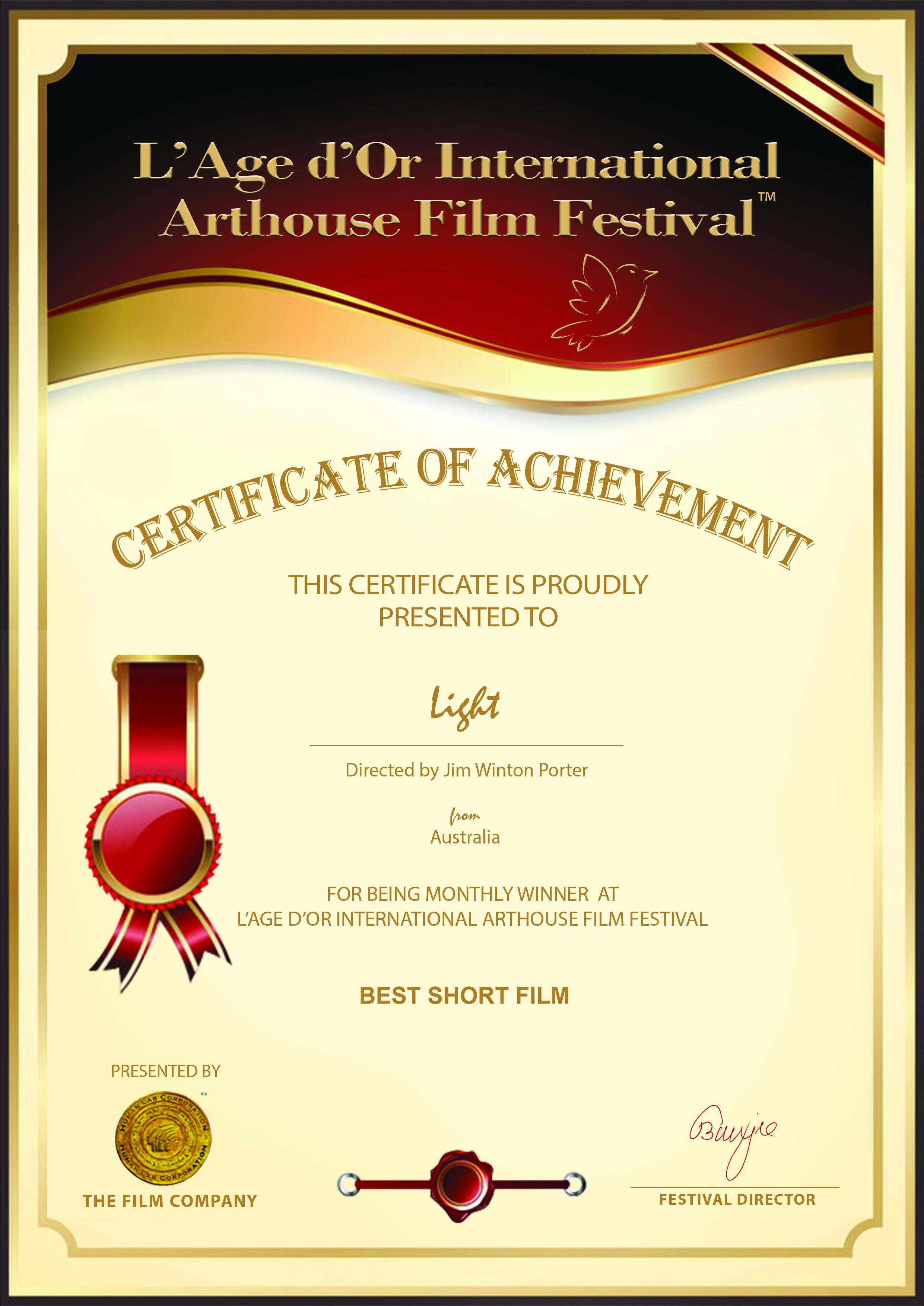 Short Film Monthly Winner