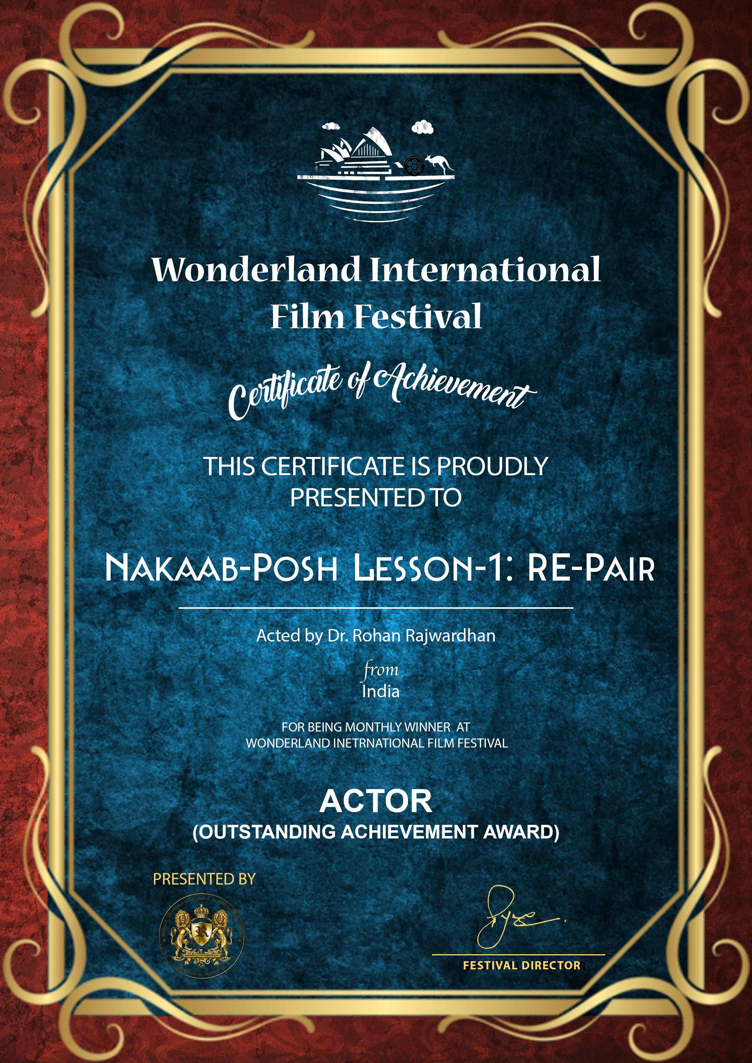 Best Actor Outstanding Achievement Awards
