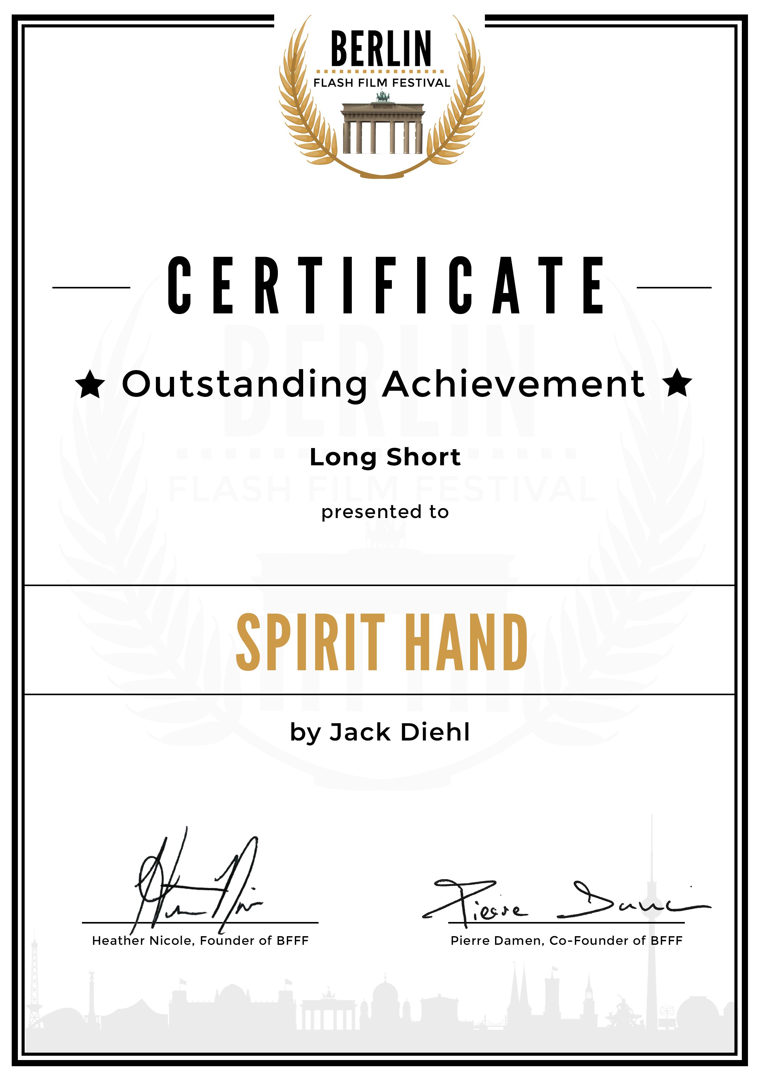 Outstanding Achievement Award - BFFF