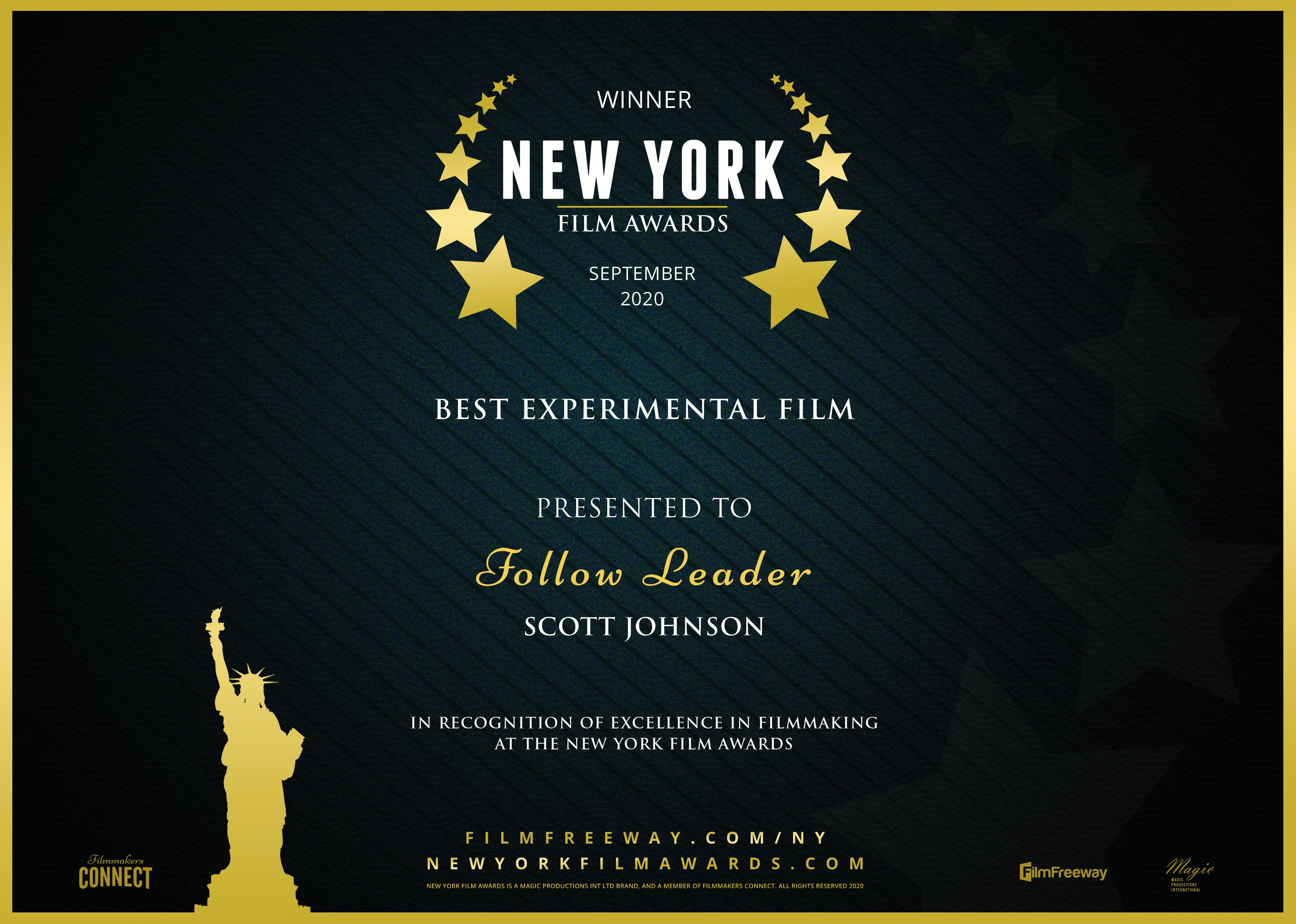 New York Film Awards - Best Experimental Film