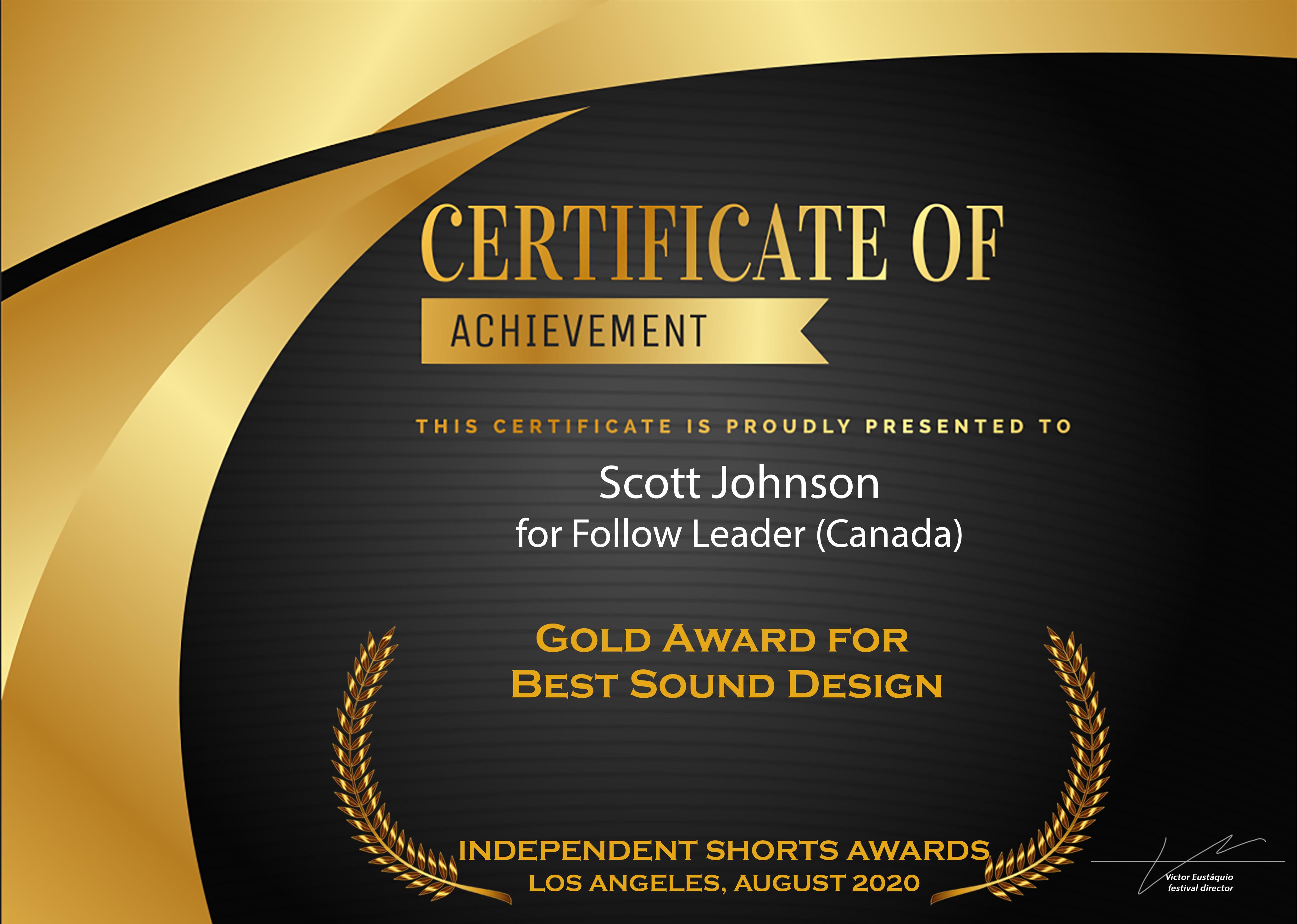 Gold Award - Best Sound Design
