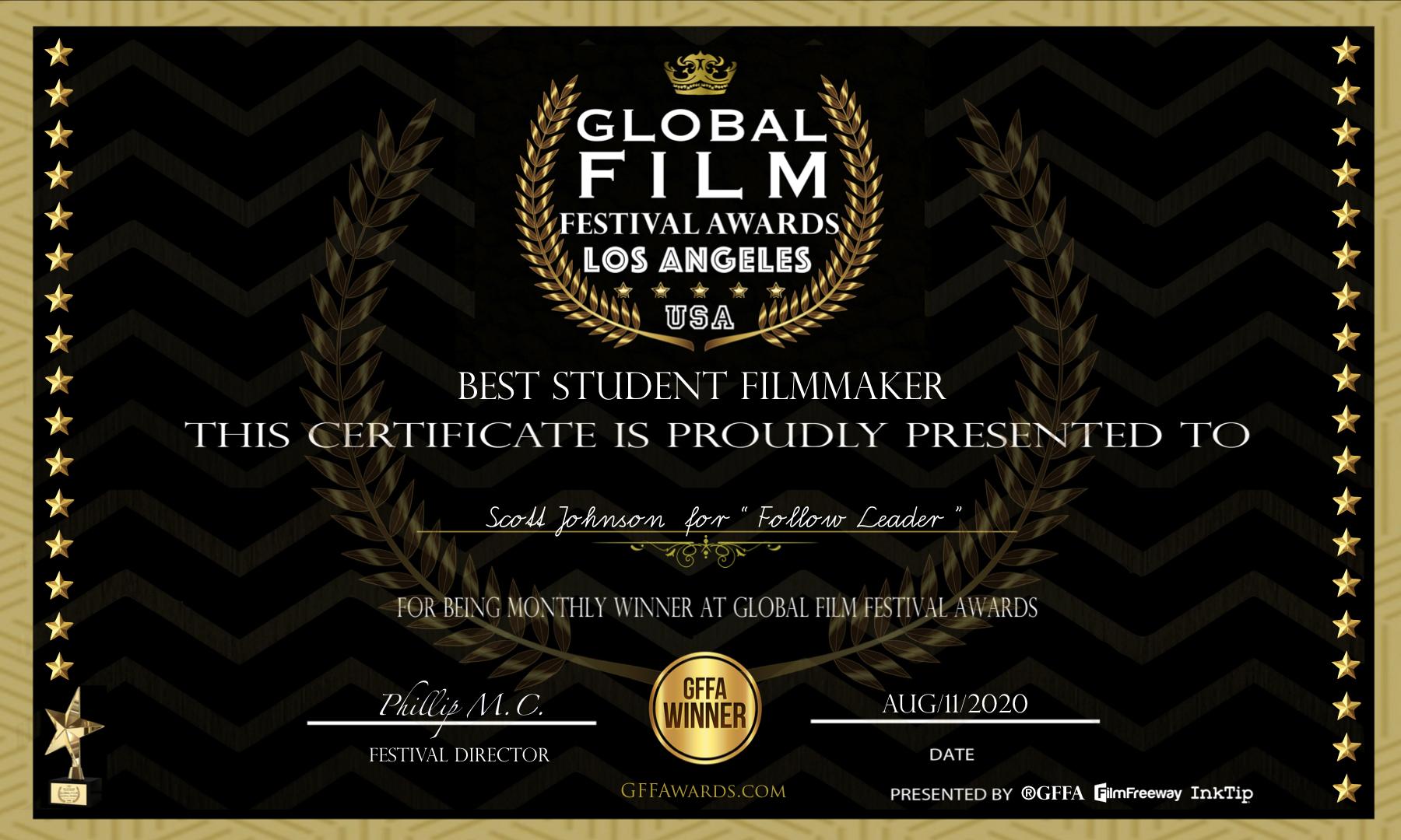 Global Film Festival & Awards - Best Student Filmmaker