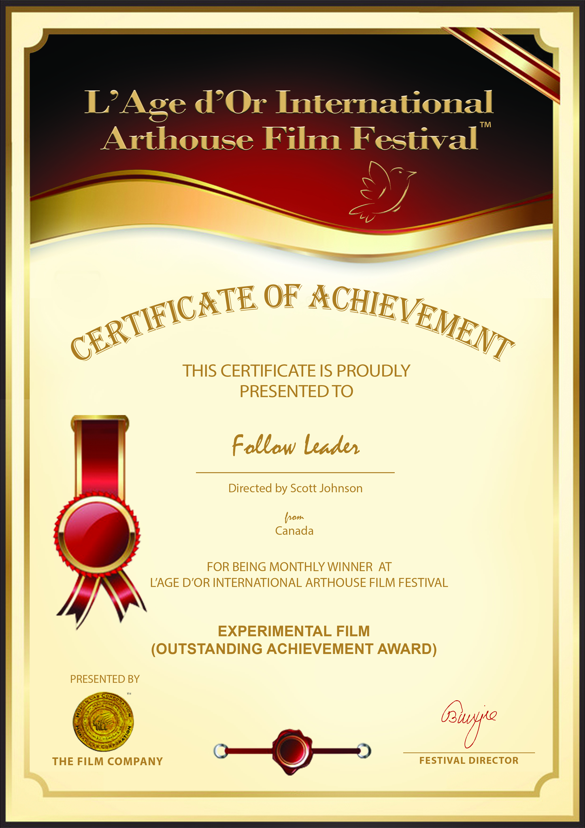 L'Age d'Or International Arthouse Film Festival (LIAFF) - Experimental Film