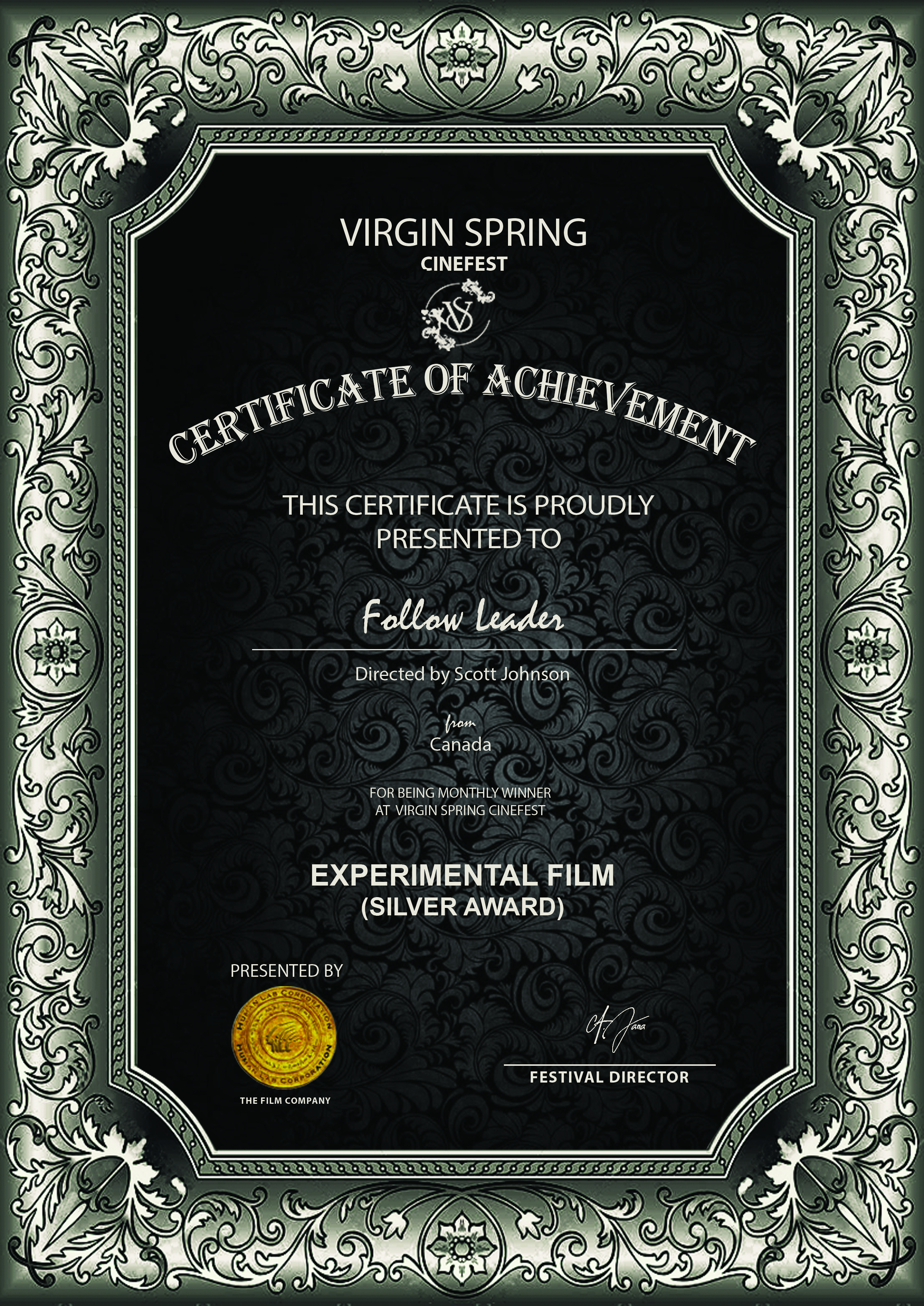 Virgin Spring CineFest - EXPERIMENTAL FILM (SILVER)